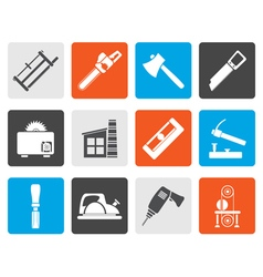 Flat woodworking industry and woodworking tools vector