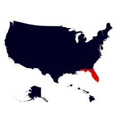Florida State in the United States map vector image