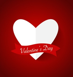 Heart paper with shadow for Valentines day vector image vector image