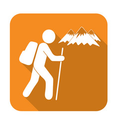 hiking tourists icon vector image