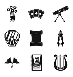 Mountain sports icons set simple style vector