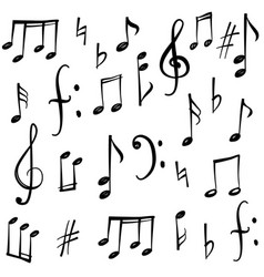 music notes signs set hand drawn music symbol vector image vector image