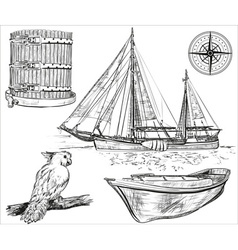 Pirate Ship Icon Set vector image