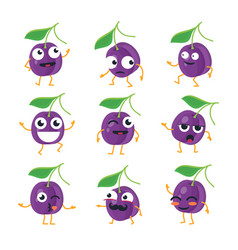 Plums - isolated cartoon emoticons vector
