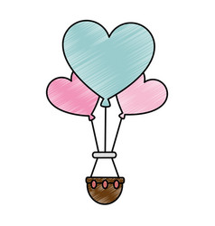 romantic travel in balloon air hot with heart vector image