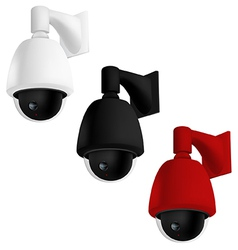 Security camera mounted on wall vector image vector image