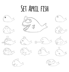 Set of april fish for fools day in France vector image