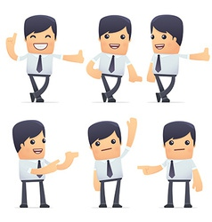 Set of businessman character in different poses vector