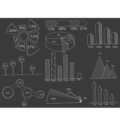 Set of infographics chalk vector