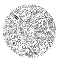 Set of Spacel cartoon doodle objects vector image