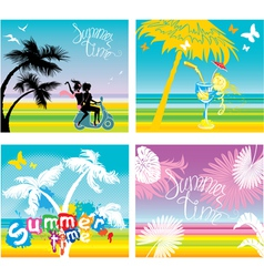 Set of summer travel and vacations pictures vector image vector image
