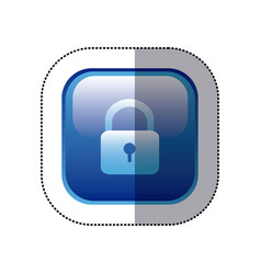 Sticker blue square frame with padlock icon vector