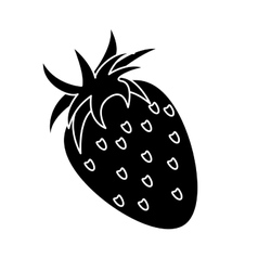 Strawberry healthy fruit nature silhouette vector