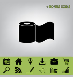 Toilet paper sign black icon at gray vector