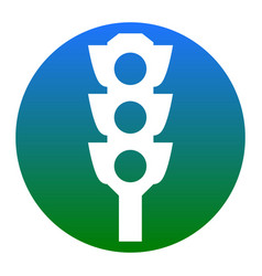 Traffic light sign white icon in bluish vector