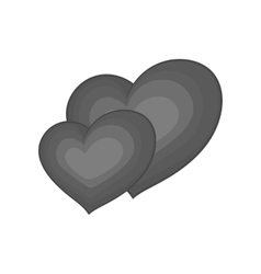 Two hearts icon black monochrome style vector image