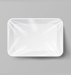 white empty blank styrofoam plastic food tray vector image vector image