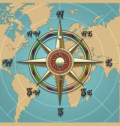 wind rose compass retro vector image