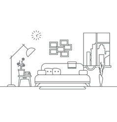 Living room with furniture interior in thin line vector
