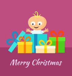 Merry christmas and smiling baby with gifts vector