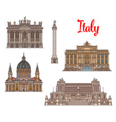 Italian travel landmarks and sightseens vector
