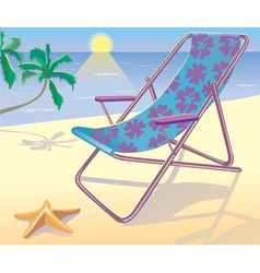 Sunbed on the beach vector