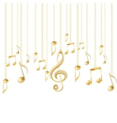 Card with musical notes and golden treble clef vector image