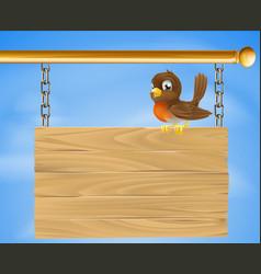 bird on wood sign vector image