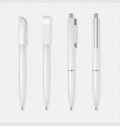 Realistic white pen icon set corporate vector