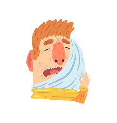 Man suffering from toothache pain and pressing his vector