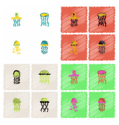 Jellyfish collection in hatching style vector