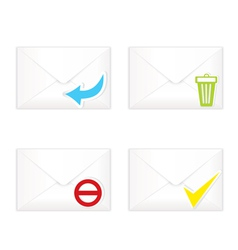 White closed envelopes with trash mark icon set vector