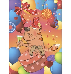 Cat and champagne postcard vector