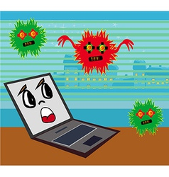 Computer virus attacking laptop vector