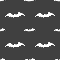 Bat icon sign seamless pattern on a gray vector