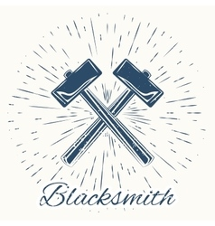 Hammer and vintage sun burst frame blacksmith vector