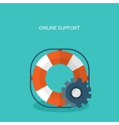 Flat background with lifebuoy technical support vector