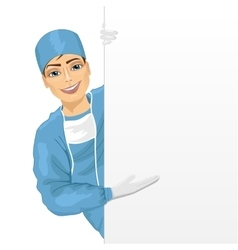 Young surgeon presenting empty banner vector