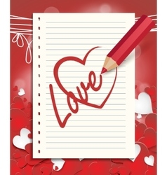 red pencil draws a heart vector image