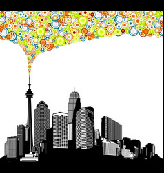 black and white panorama city with skyscrapers vector image vector image