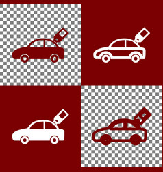 Car sign with tag bordo and white icons vector