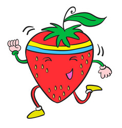 Character of strawberry cartoon style vector