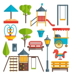 City park flat elements set vector
