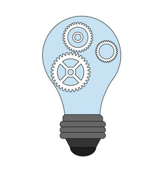Color image light bulb with gears and pinions vector