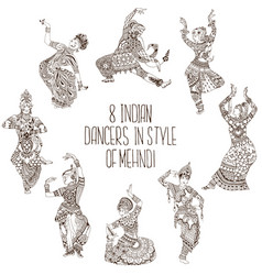 Different indian dancers vector