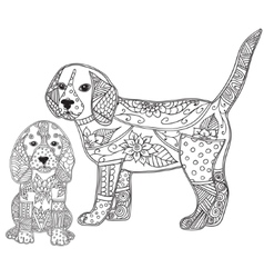 Dog and puppy adult antistress or children vector