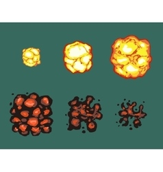 Explosion burst animation frames vector