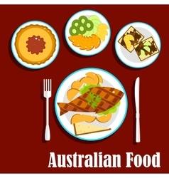 Fresh australian cuisine dishes flat style vector