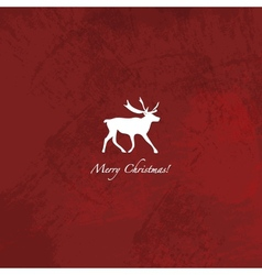 Grunge red reindeer background vector image