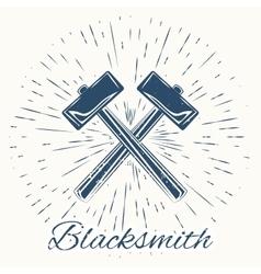 hammer and vintage sun burst frame Blacksmith vector image vector image